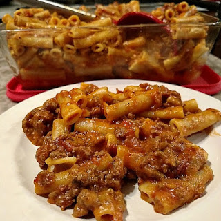 Ziti With Ground Beef And Cheese.