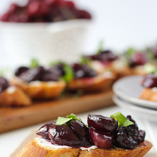Roasted Cherry & Goat Cheese Crostini