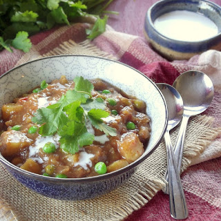 Slow Cooker Indian Curry Potato Soup with Cashew Cream.