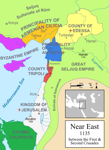 Map of the Latin Principalities in and near the Holy Land.