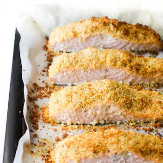 Lemon and Parmesan Crusted Salmon.