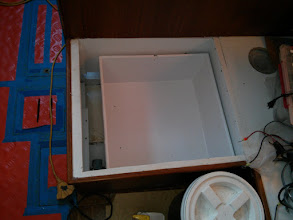 Photo: house bank battery box complete & painted.Box has space for six 6V batteries = 660AH