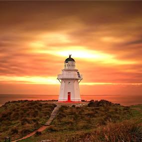 Waipapa Point Evening by Jomy Jose - Landscapes Sunsets & Sunrises ( hannahsdreamz, light house, invercargill, jomy jose, evening, waipapa point light house, new zealand )