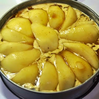 Pear and Almond Cake with Creme Anglaise.