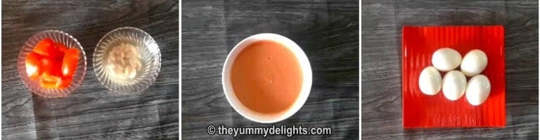 Grind tomato and cashew to a fine paste for making dhaba style egg curry