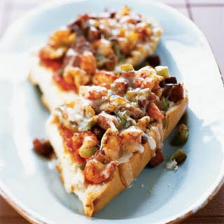 Spicy Crawfish and Andouille Pizza on French Bread