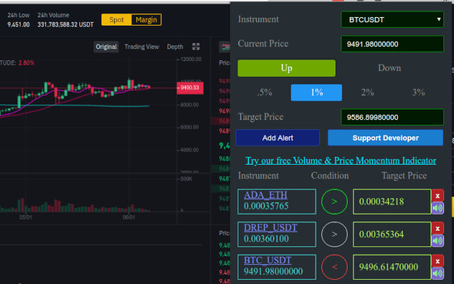 Binance cryptocurrency price alerts