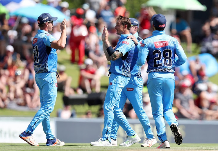 Albie Morkel of the Titans celerates with teammates after catching out Wayne Parnell of the Cape Cobras during the 2017 Ram Slam T20 match between The Multiply Titans and Cape Cobras at SuperSport Park, Johannesburg South Africa on 19 November 2017.