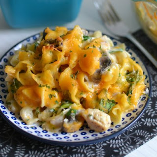 Cheesy Chicken, Spinach and Mushroom Noodle Casserole.