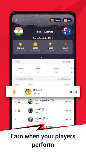 CricPlay -Free Fantasy Cricket Game. Win Real Cash  screenshots 2