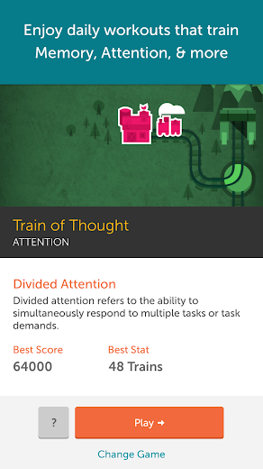 Screenshot 1 for Lumosity's Android app'