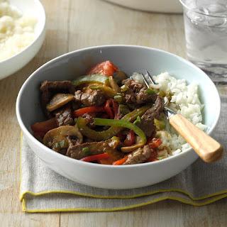 Mushroom Pepper Steak.