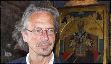 Photo: Austrian author Peter Handke visits the Serb Orthodox Church of Sveti Stefan in the village of Velika Hoca, some 60km west from Pristina, April 8, 2007. Handke visited Kosovo where he donated 50,000 euros ($66,937) to the people of Serbian enclave Velica Hoca. //////REUTERSਊฎଋᄑฎఌ