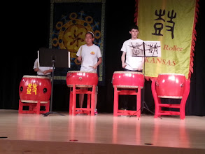 Photo: Chinese drum, lion dance and crystal bowl