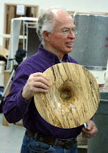 Photo: Phil Brown with one of his signature spalted maple flares.