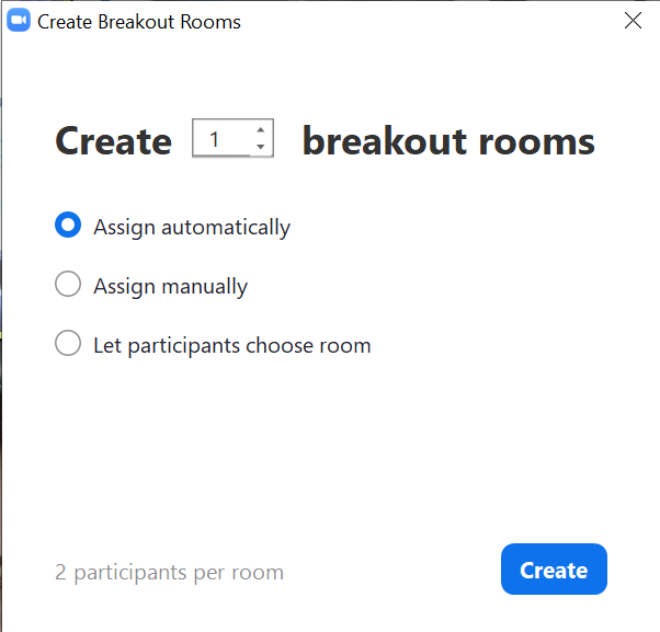 screenshot of breakout room creation window