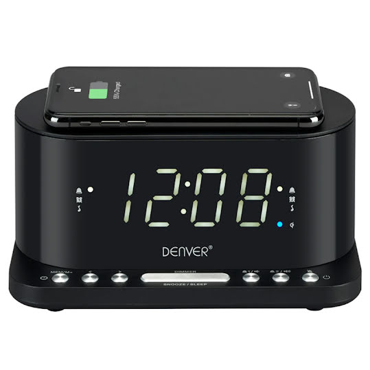 Denver Clock radio with QI charging