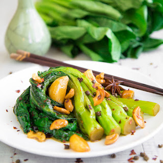 GAI LAN (CHINESE BROCCOLI) STIR FRY with Sichuan pepper and garlic.