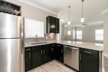 C1L kitchen with wood-inspired flooring, stainless steel appliances, and dark cabinets