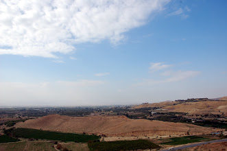 Photo: Beautiful views of Upper Tall el-Hammam (Sodom/Livias), largest Tall in the Cities of the Plain with Jordan's King Hussein's Winter Palace in the background