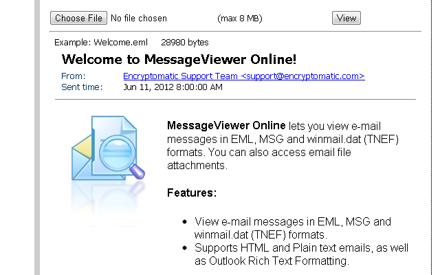 MessageViewer Online by Encryptomatic