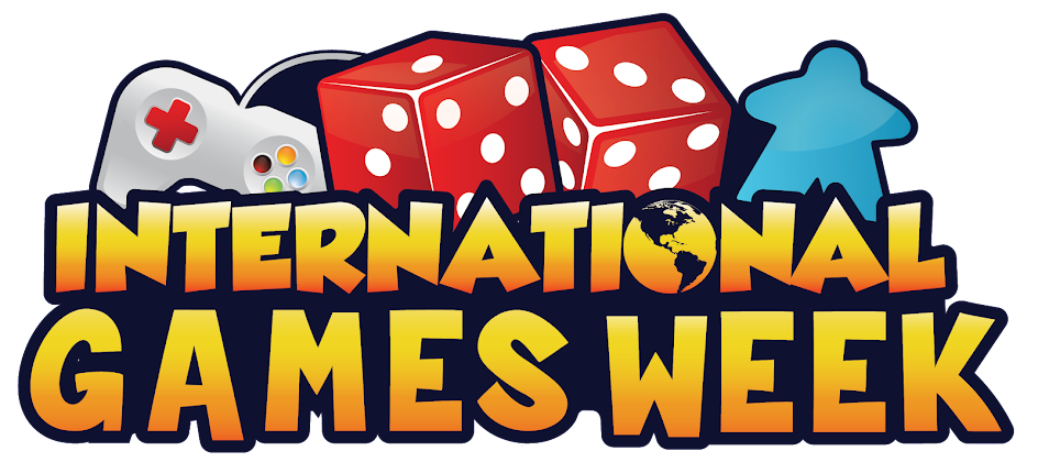 International Games Week image with games controller, board game piece and dice images