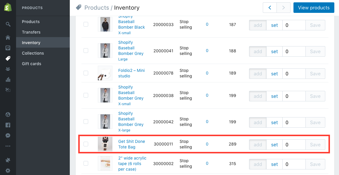 shopify inventory dashboard