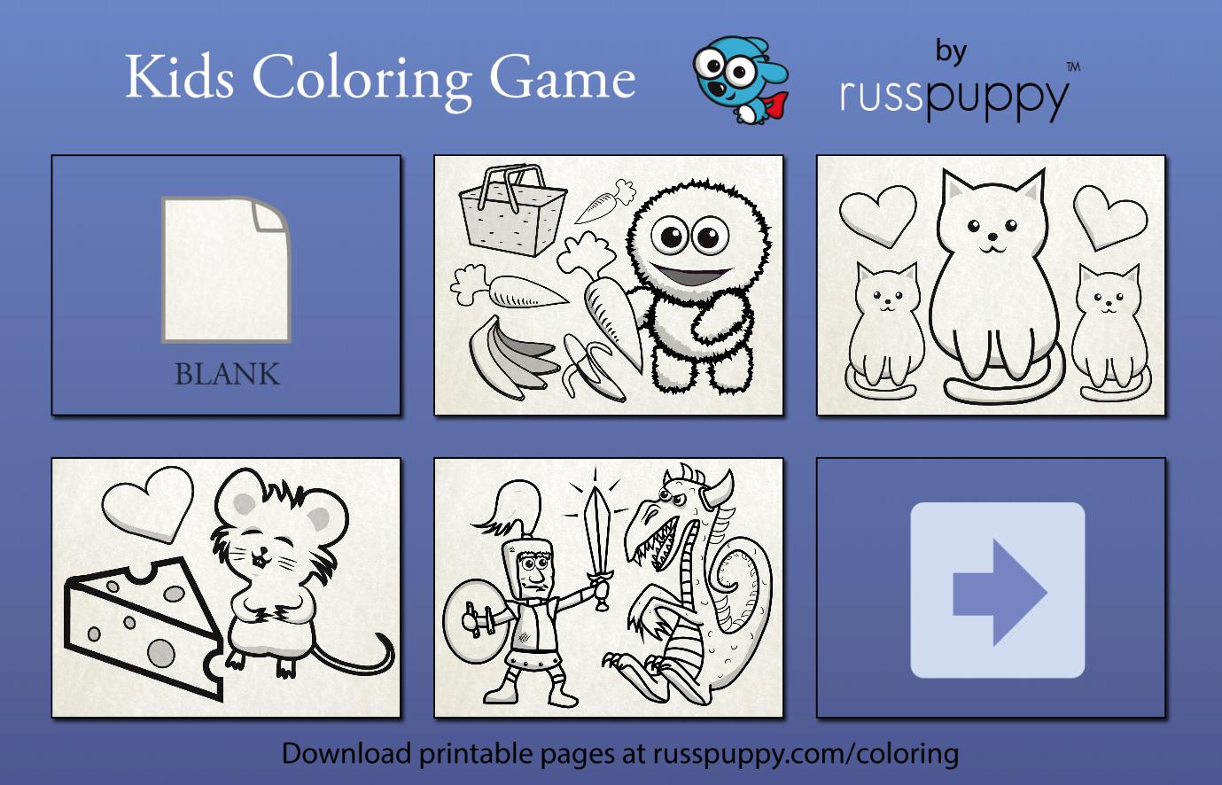 Kids Coloring Game Russpuppy Screenshot