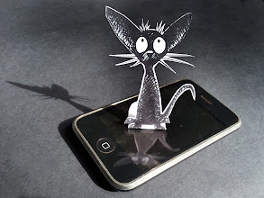 Photo: Just testing the Black Cat Bookmarks. Yes, they work fine on a vintage 3GS, I'm sure they will work on a Kindle +Claude Rieth. bit.ly/PaulSticklandFreeStuff #catsonphones  #blackcatbookmark