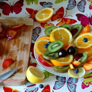Fresh Fruit Salad With Ice Cream.