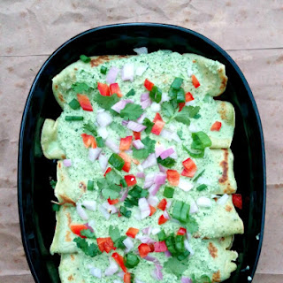 French Inspired Poblano Crepe 'Enchiladas'