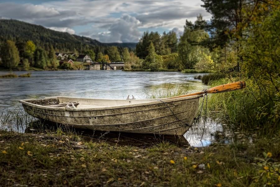 Båten by Dirk Rosin - Transportation Boats ( norwegen, landskap, landschaft, steder, vikersund, land, landschaft-natur, norge, landscape, modum, norway )