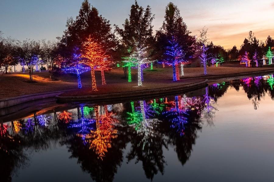 Vitruvian Park sunset by Bert Templeton - Public Holidays Christmas ( reflection, addison, texas, christmas, lake, vitruvian lights, lights,  )