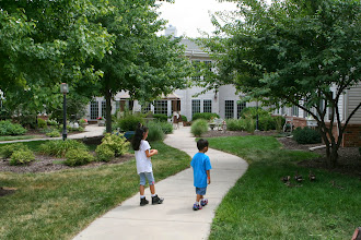 Photo: The kids liked to wander around the courtyard
