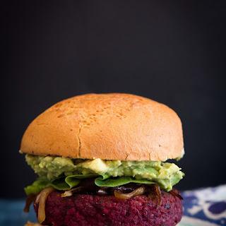Beet Chickpea Burgers with Harissa Spread (Vegan).
