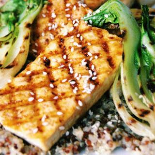 Grilled Tofu Steaks With Orange Ginger Glaze [Vegan].