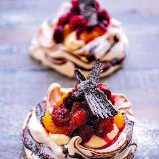 Mini Cranberry, Orange And Chocolate Pavlovas