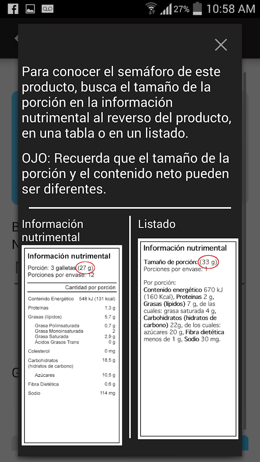 Semáforo nutrimental- screenshot