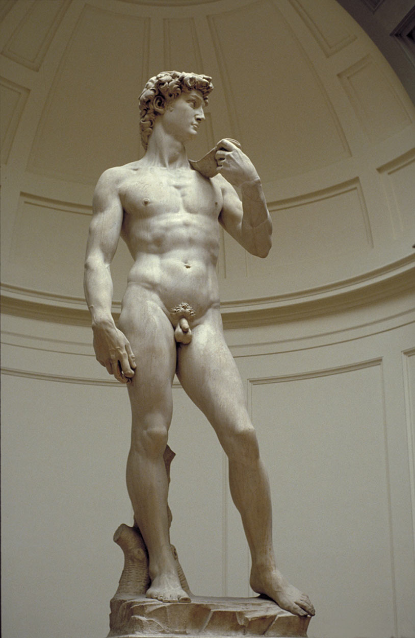 Michelangelo's Statue of David at the Accademia Gallery in Florence, Italy.