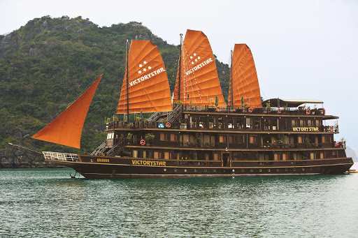 halong-bay-junk.jpg - A junk sails through world-famous Ha Long Bay in Vietnam.