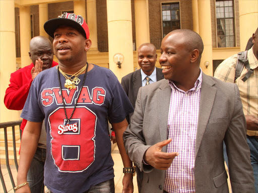 Nairobi Governor Mike Sonko with EALA MP Simon Mbugua.