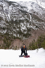 Photo: Anthony on the glade below the route, Haystack in the background.