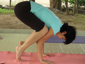 Photo: Ziggy practcing Bakasana