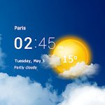 Transparent clock & weather - forecast & radar icon
