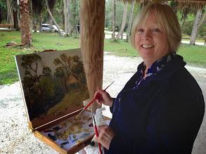Photo: Kerry Eriksen painting at Riverbend Pk