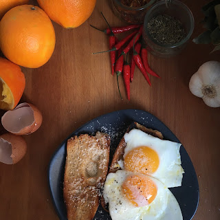 Perfect Olive Oil Fried Eggs on Toast.