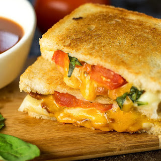 Gourmet Grilled Cheese with Bacon, Roasted Tomato, and Basil