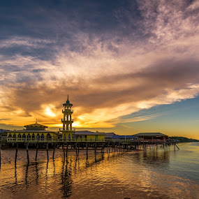 Reflection by Ted Khiong Liew - Landscapes Waterscapes ( reflection, sky, waterscape, mosque, sunset, cloud )