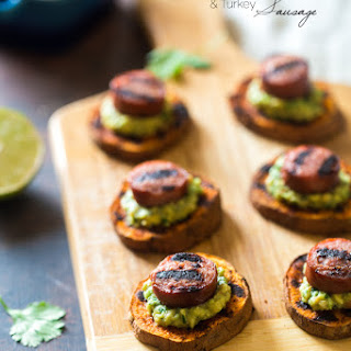 Spicy Grilled Sweet Potatoes with Avocado Salsa and Turkey Sausage