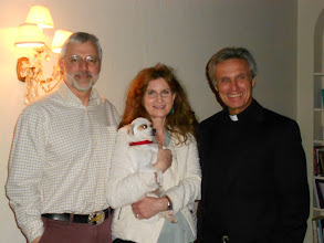 Photo: Zach, '79 and Elizabeth Nelson with Abbot Michael